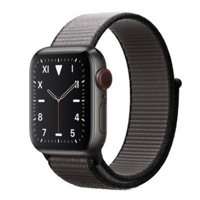 Apple Watch Series 5 Edition GPS + Cellular, 40mm, корпус из титана цвета «черный космос», спортивный браслет (Sport Loop) цвета «тёмный графит»