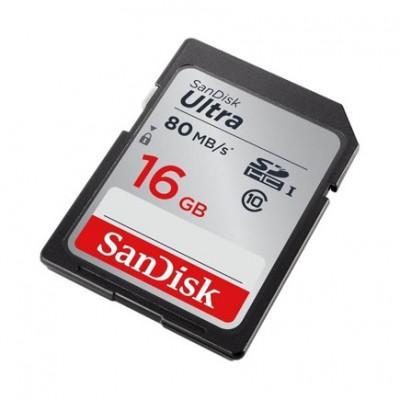 Карта памяти SanDisk Ultra SDHC Class 10 UHS-I 80MB/s 16 ГБ
